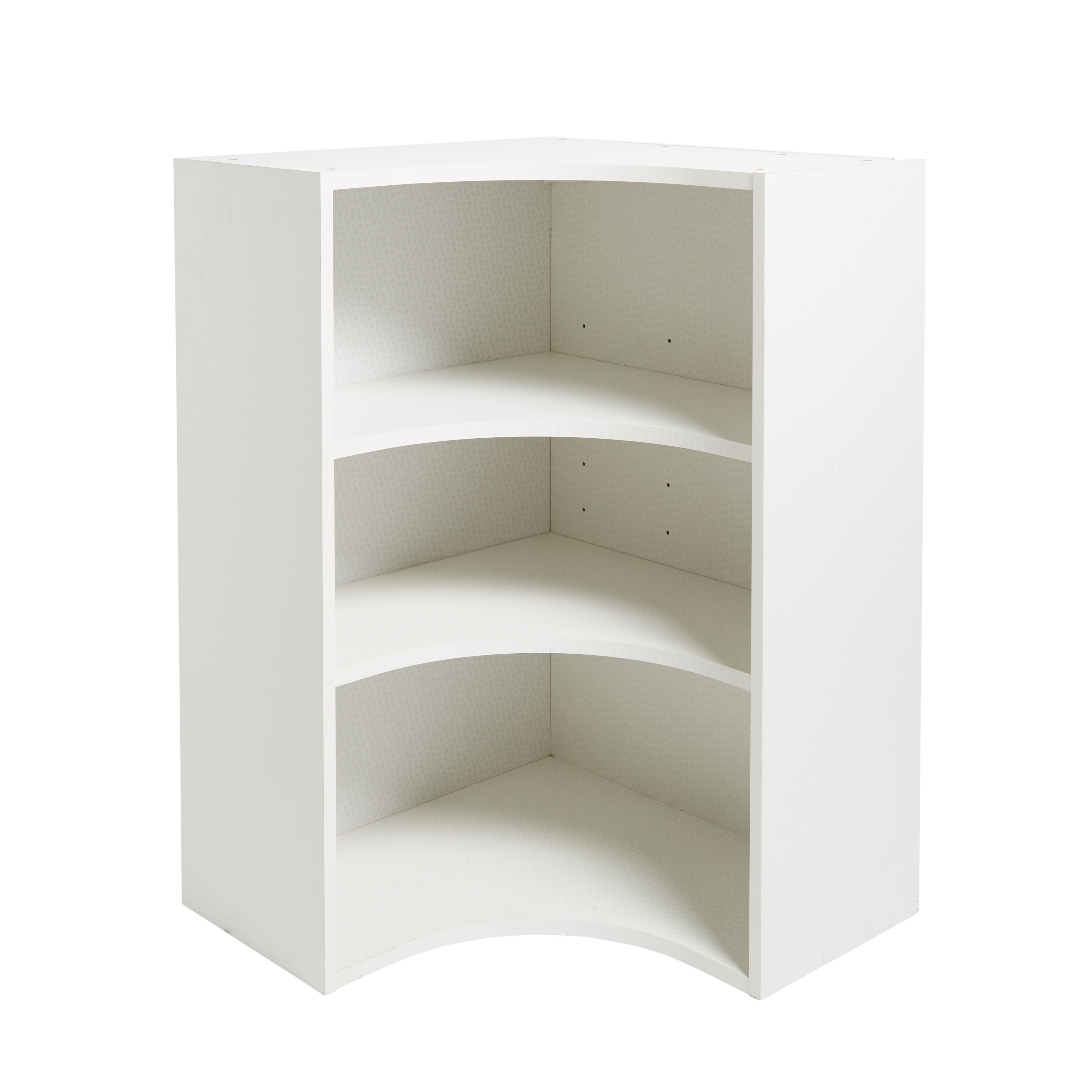 Kitchen Shelves B Q: IT Kitchens White Curved Corner Tall Wall Cabinet (W)625mm