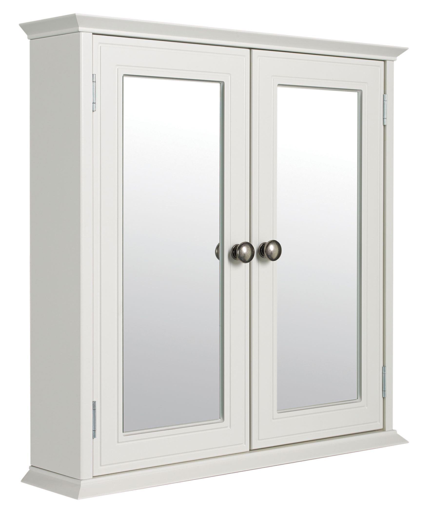 Cooke lewis romano double door white mirror cabinet for White mirrored cabinet