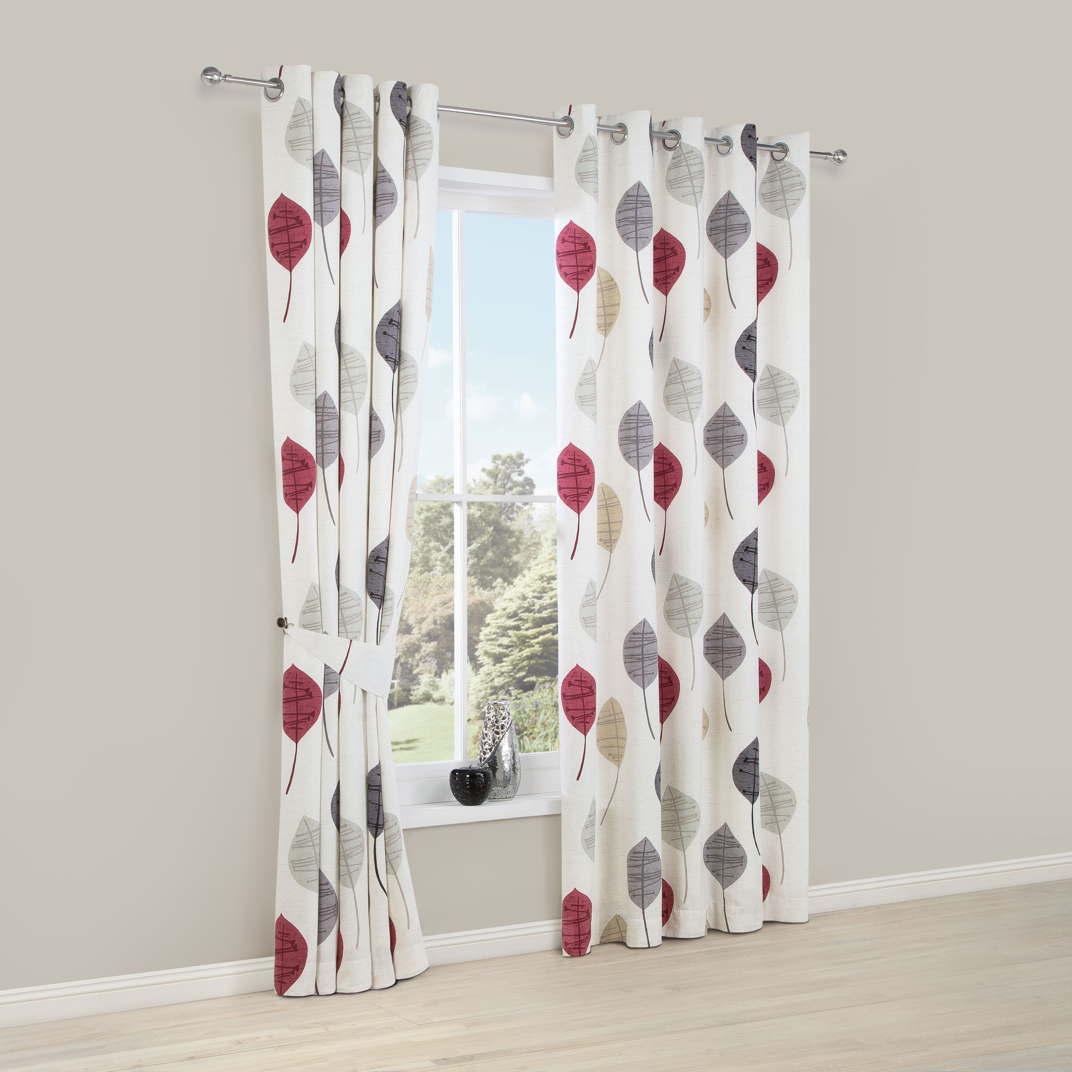 Dario Beige, Grey, Red & White Floral Printed Eyelet Lined Curtains (w)117 Cm (l)137 Cm