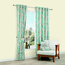Rowena Duck Egg Floral Printed Eyelet Lined Curtains