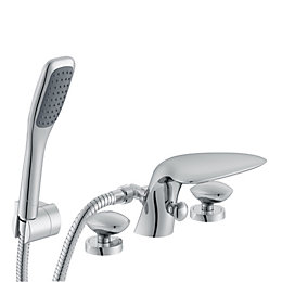 Cooke & Lewis Pebble Chrome Bath Shower Mixer