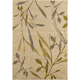 Colours AAliyah Beige & Green Trailing Leaf Rug