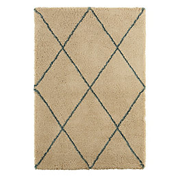 Colours Kitah Cream & Blue Diamond Lines Rug