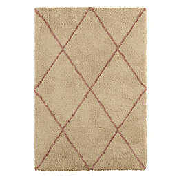 Colours Kitah Cream & Pink Diamond Lines Rug