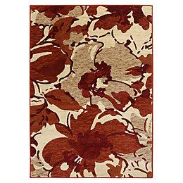 Colours Antonia Beige & Red Floral Rug (L)1.7m