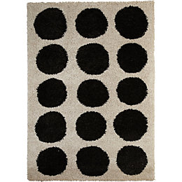 Colours Cream & Black Rug (L)2.3m (W)1.6m
