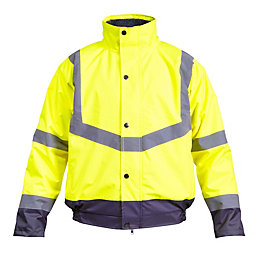 Rigour Yellow Waterproof Hi-Vis Bomber Jacket Large