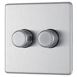 Colours Excellent 2-Way Double Brushed Steel Dimmer Switch