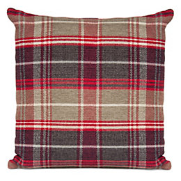 Hermione Check Black, Fawn & Red Cushion
