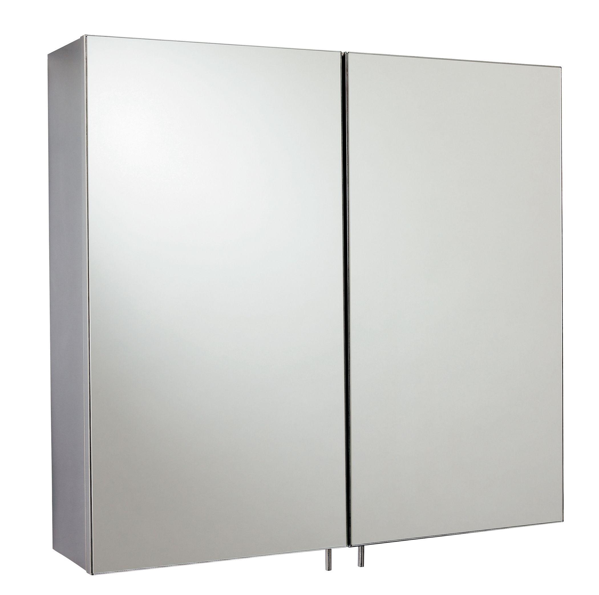 Diy Mirror Cabinet Door: Fonteno Double Door Silver Mirror Cabinet