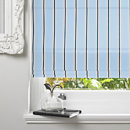Colours Ren Corded Blue Roman Blind (L)140cm (W)180cm