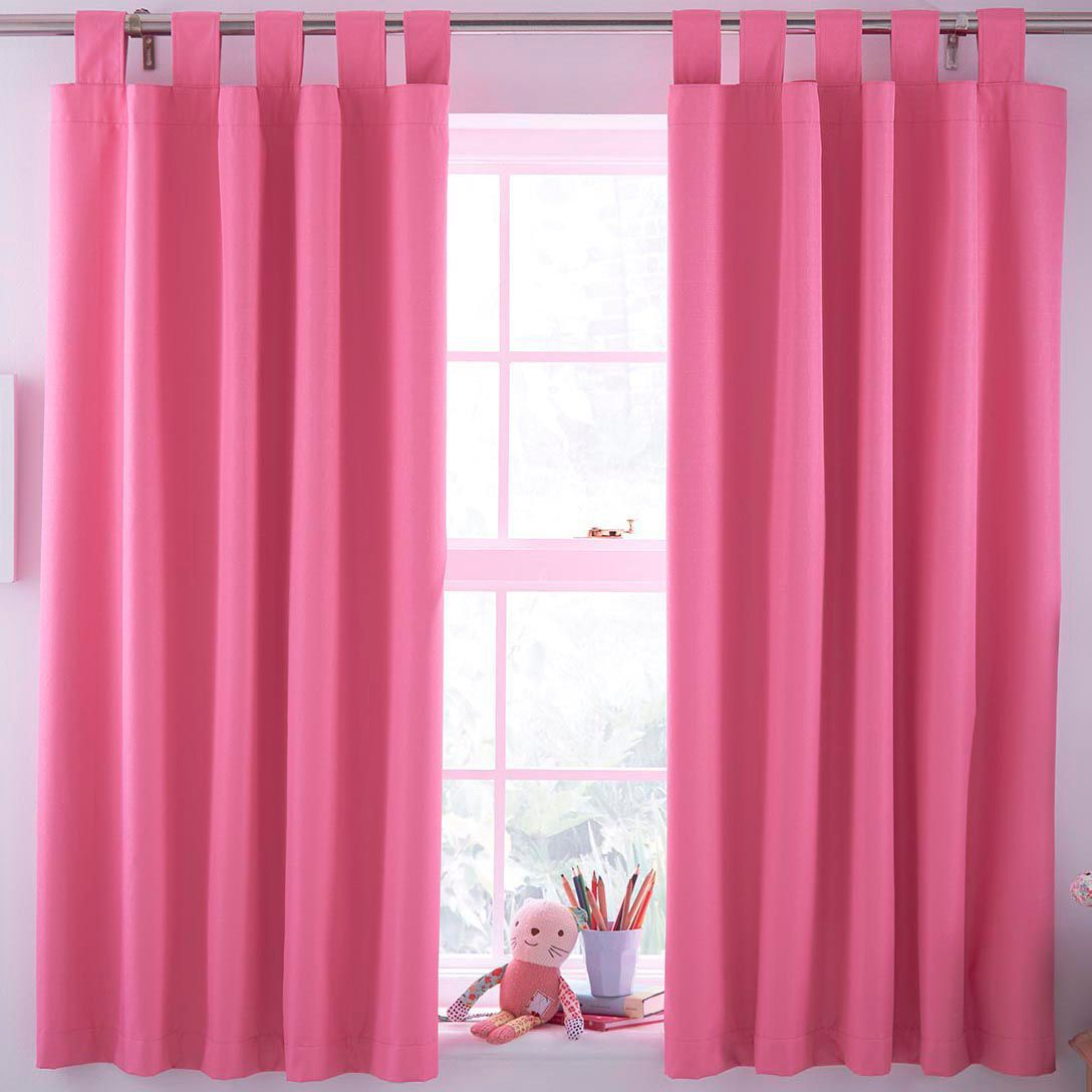 How to make tab top curtains - N A Pink Plain Tab Top Blackout Children S Blackout Curtains W 168 Cm