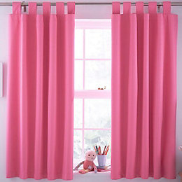 Pink Plain Tab Top Lined Children's Blackout Curtains