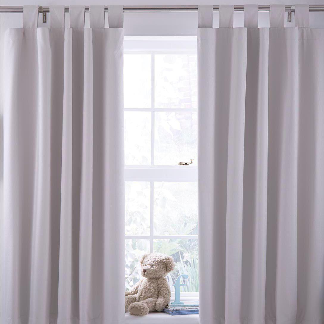 N/a Cream Plain Tab Top Blackout Children's Blackout Curtains (w)168 Cm (l)137 Cm