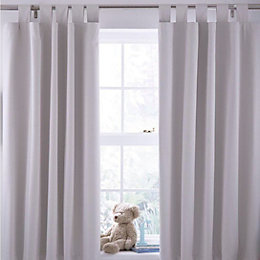 Cream Plain Tab Top Lined Children's Blackout Curtains
