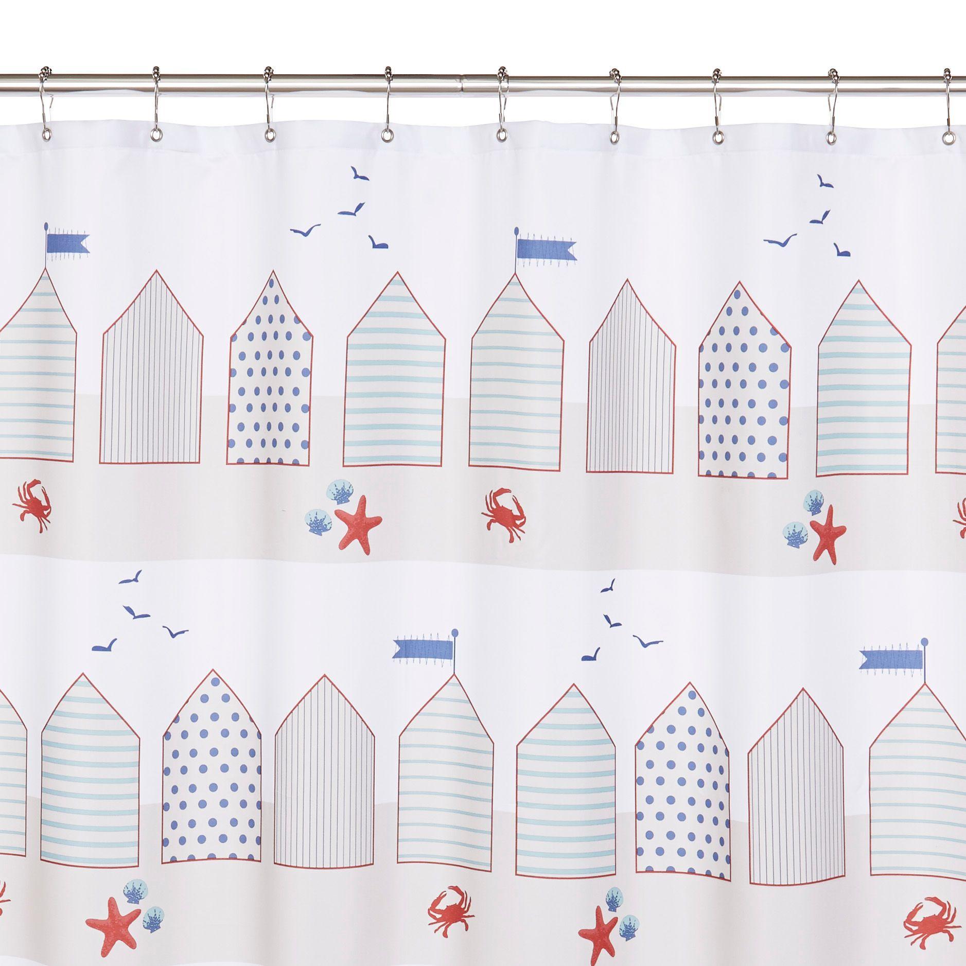 Beachy shower curtains - Multicolour Beach Hut Shower Curtain L 1800 Mm Departments Diy At B Q