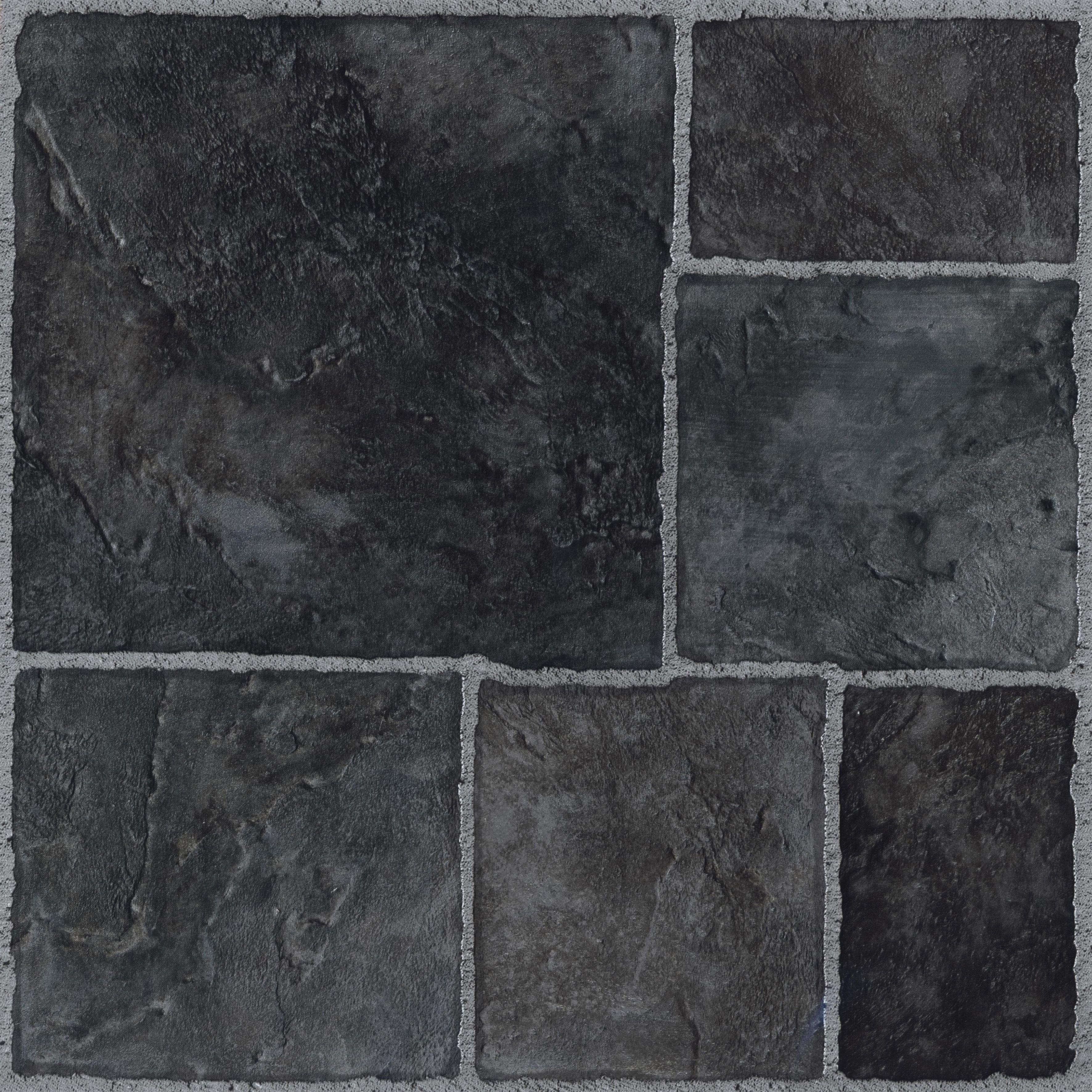 Colours Black Stone Effect Self Adhesive Vinyl Tile 1.02 M² Pack
