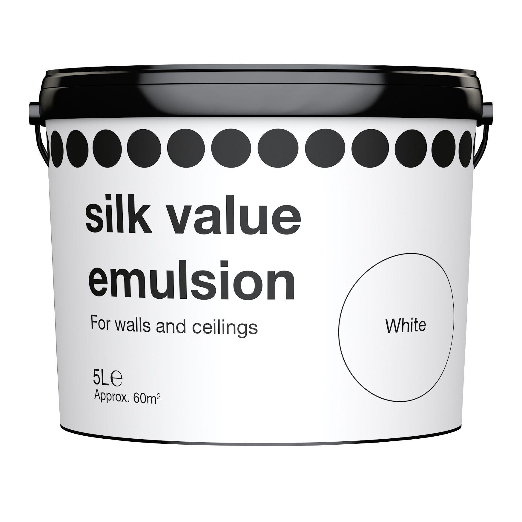 B Q Value White Silk Emulsion Paint 5l Departments Diy At B Q