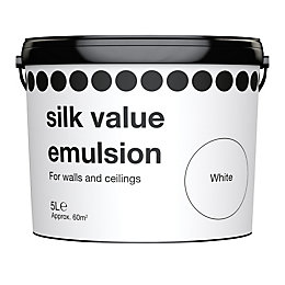 B&Q Value White Silk Emulsion Paint 5L