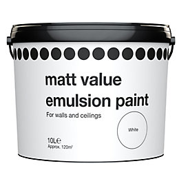 B&Q Value White Matt Emulsion Paint 10L