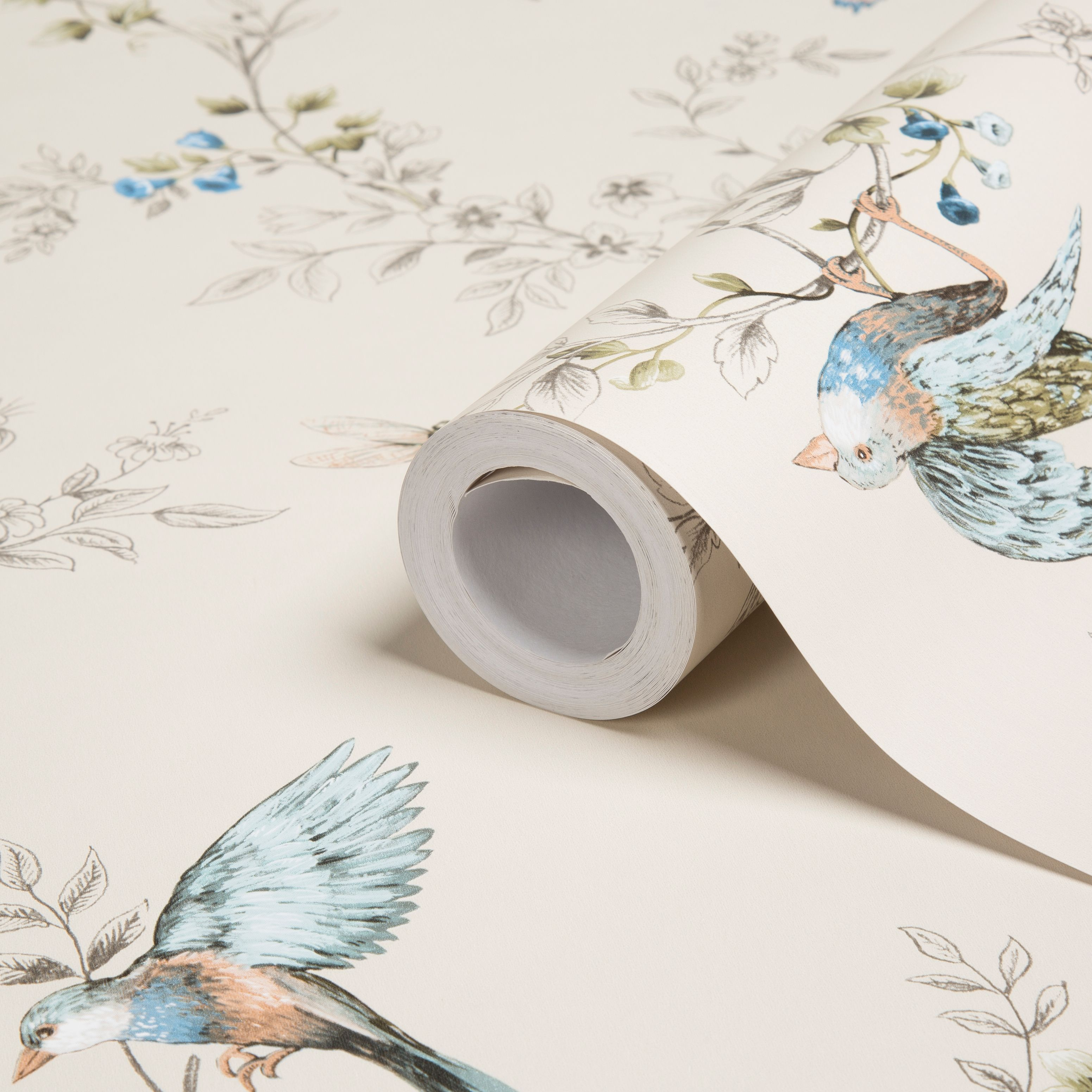 Colours Heligan Cream Birds Mica Effect Wallpaper