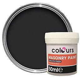 Colours Black Smooth Masonry Paint 50ml Tester Pot