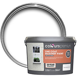Colours Premium White Matt Masonry Paint 2.5L