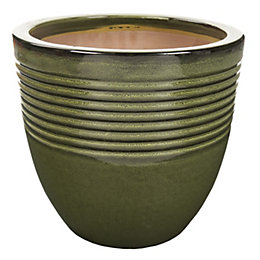 Seacourt Round Glazed Green Pot (H)24.5cm (Dia)27cm