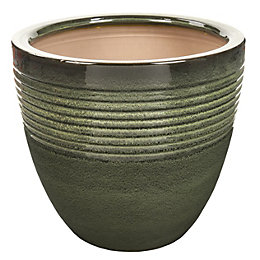 Seacourt Round Glazed Green Pot (H)31cm (Dia)33cm