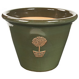 Effra Round Glazed Green Bay Tree Pot (H)22cm