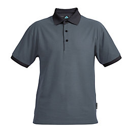 Rigour Black & Grey Polo Shirt Small