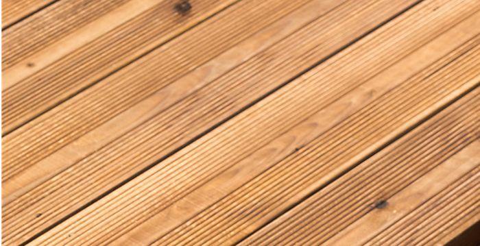 Decking treated with decking stain