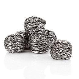 B&Q Stainless Steel Metal Scourer, Pack of 6