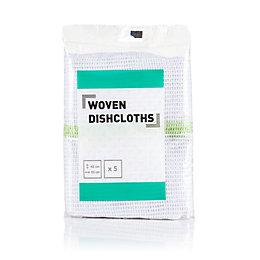 B&Q Woven Dish Cloth, Pack of 5