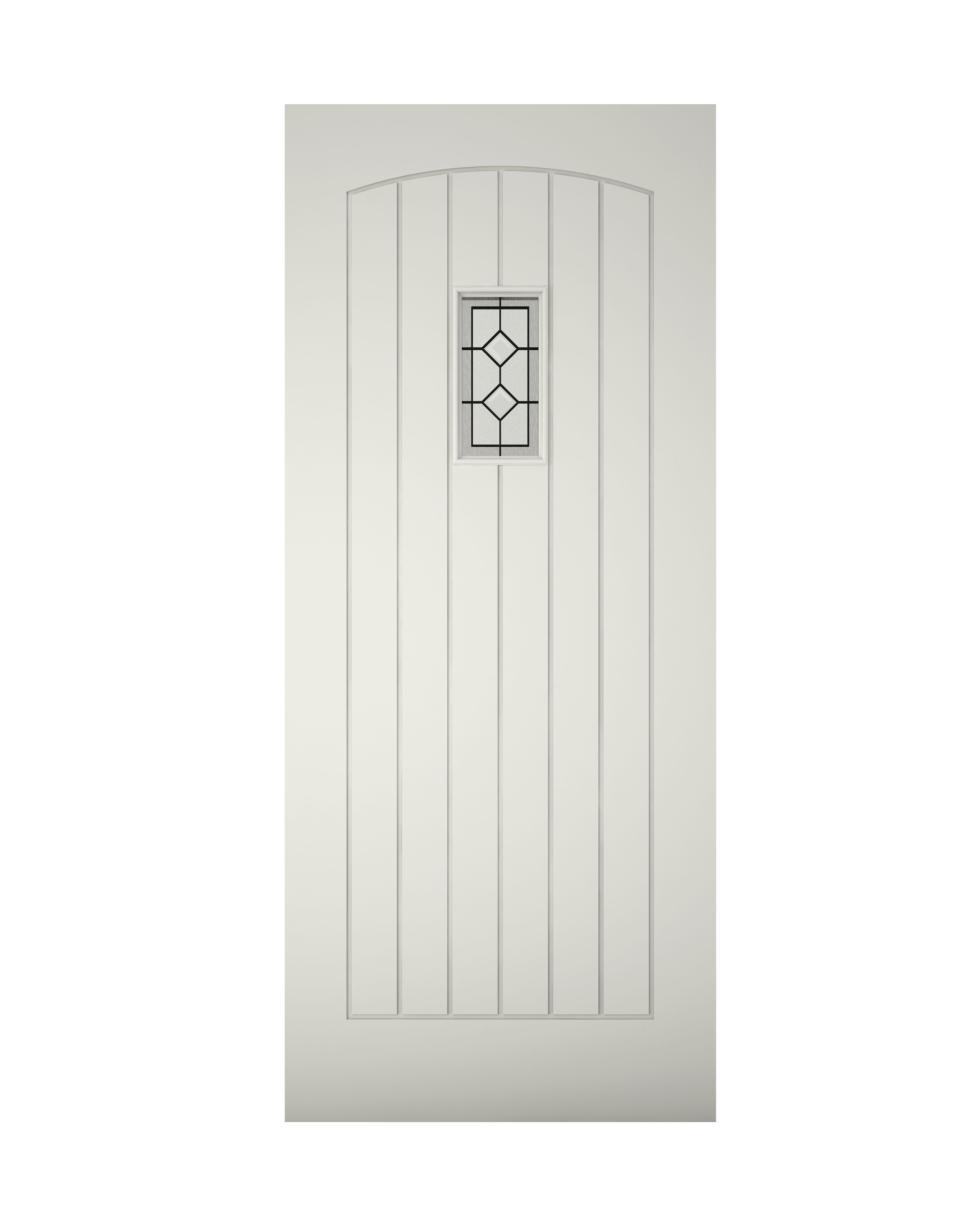 Cottage Panelled Primed Glazed Front Door, (h)2032mm (w)813mm