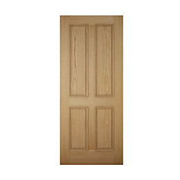 4 Panel White Oak Veneer Front Door, (H)1981mm