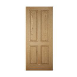 4 Panel White Oak Veneer Front Door, (H)2032mm