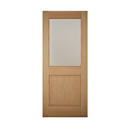 American White Oak Veneer Glazed Back Door, (H)1981mm