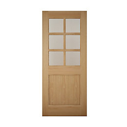 American White Oak Veneer Glazed Back Door, (H)2032mm