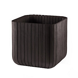 Square Plastic Wood Effect Planter (H)39.5cm (L)39.5cm