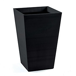 Olton Tapered Plastic Black Planter (H)43cm (L)29.7cm