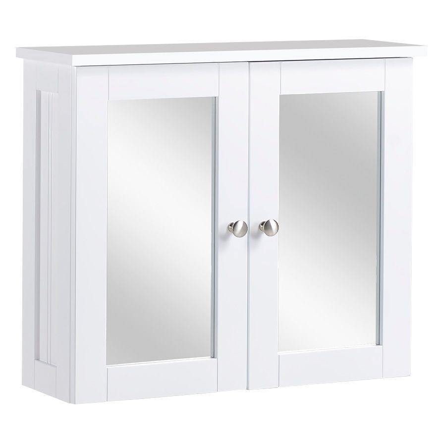 Nicolina Double Door White Mirror Cabinet