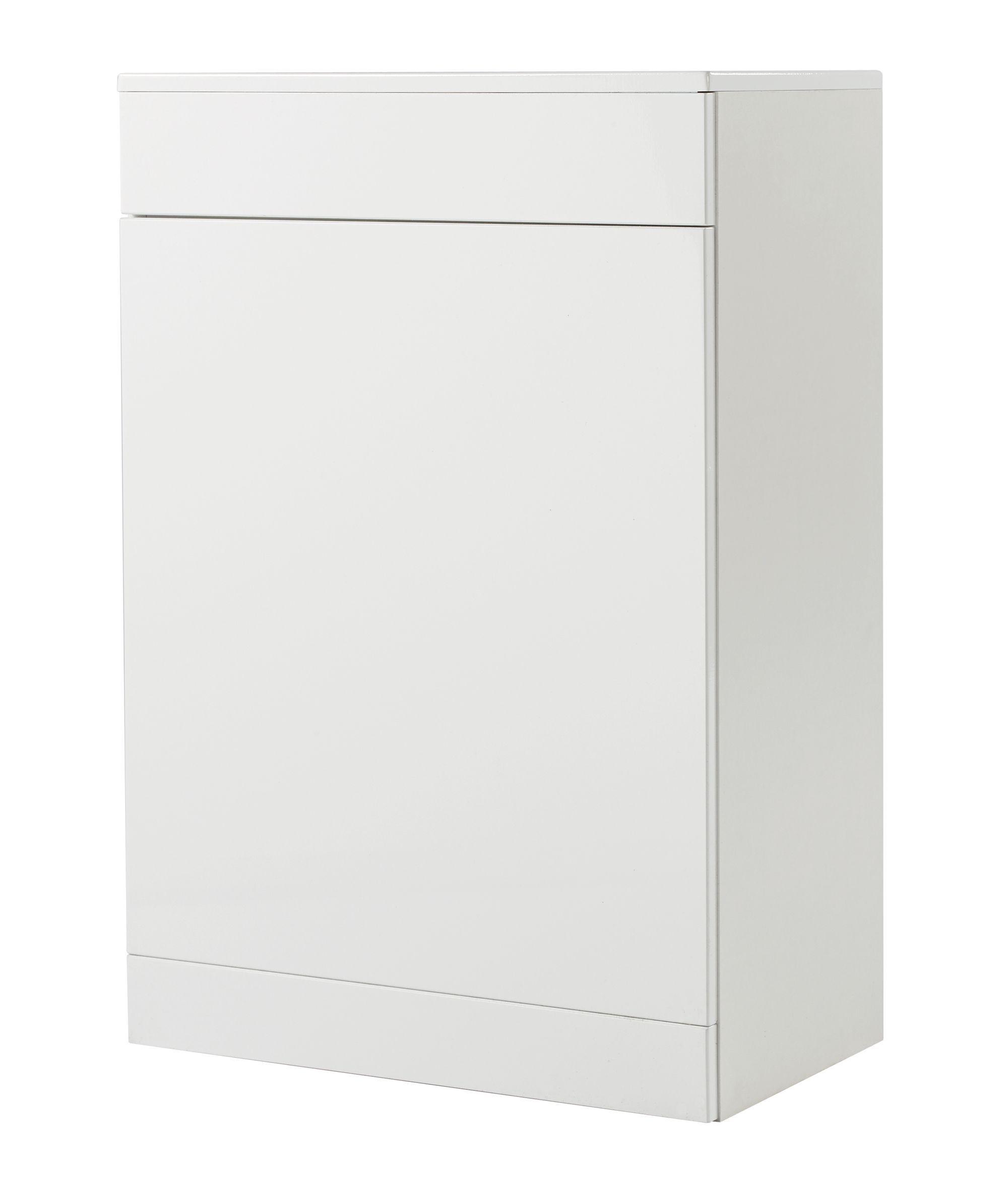 Gloss White Toilet Bathroom Cabinet Unit Waterproof Pvc Pressed Round Door Edges Ebay