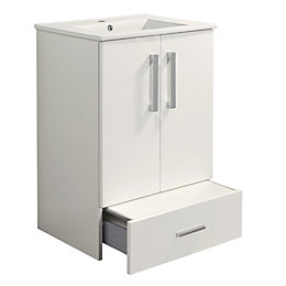 Cooke & Lewis Kiddie Step Gloss White Vanity