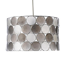 Colours Gilort Capiz Grey Circles Lamp Shade (D)29cm