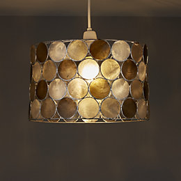 Colours Gilort Capiz Grey Circles Lamp Shade (D)290mm