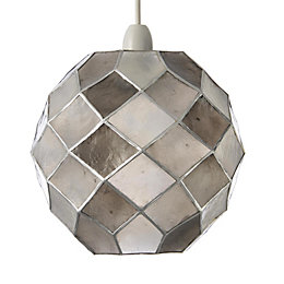 Colours Maringa Capiz Grey Diamond Lamp Shade (D)22.5cm