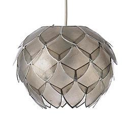 Colours Elvira Capiz Grey Artichoke Lamp Shade (D)20cm