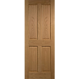 4 Panel Prefinished Oak Unglazed Internal Standard Door,
