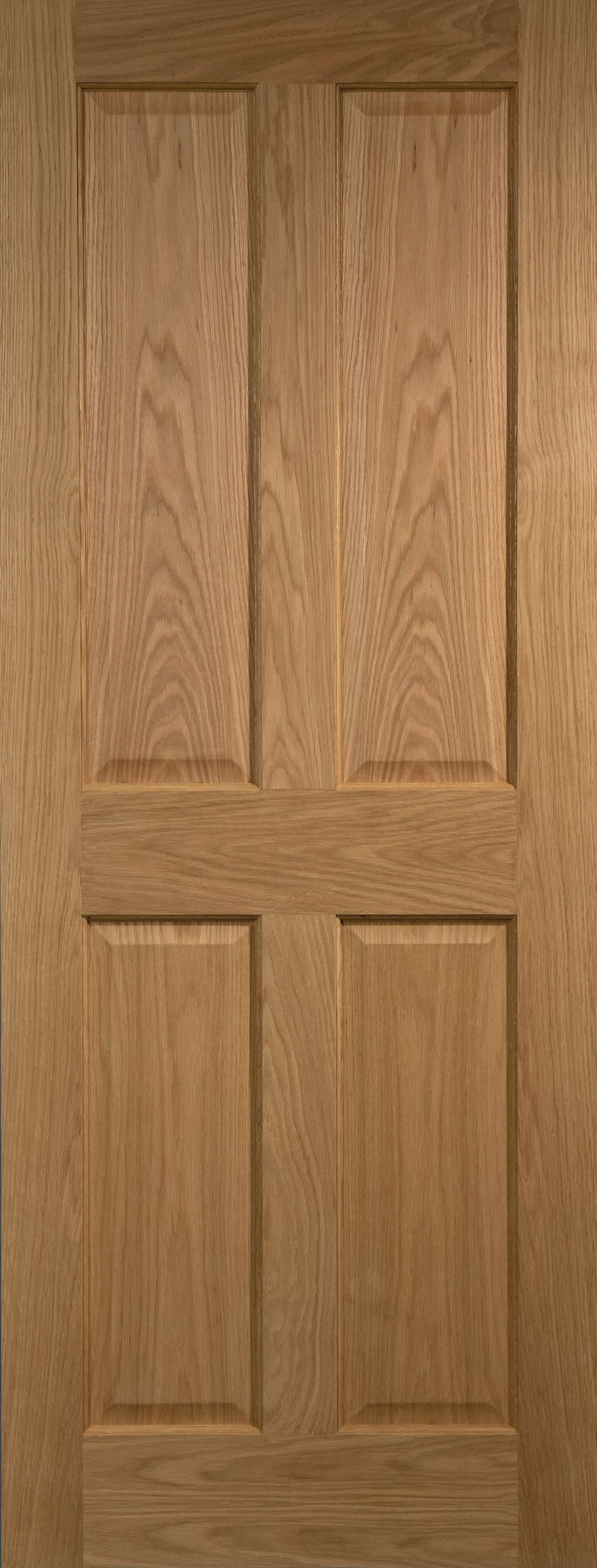 4 Panel Prefinished Oak Unglazed Internal Standard Door, (h)1981mm (w)686mm